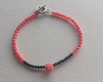 Hematite bracelet matte coral faceted beads