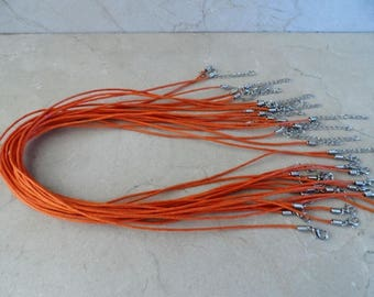orange set of 20 necklaces waxed cotton cord 1.5 mm