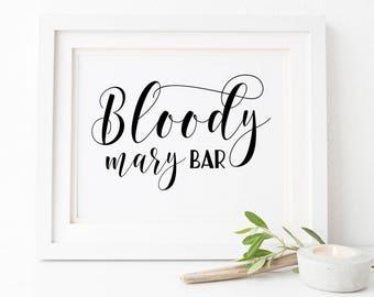 Wedding bar sign Bloody mary bar sign Printable cocktail bar sign Bridal shower bar sign Alcohol bar sign Wedding brunch bar sign 8x10 Sign
