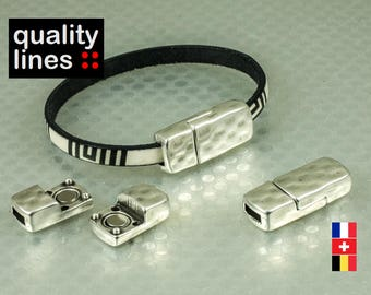 Silver magnetic clasp in zamak for flat leather 5mm to 6mm / 2mm bracelet