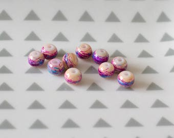 Set of 10 painted glass beads, peach color, 6 mm