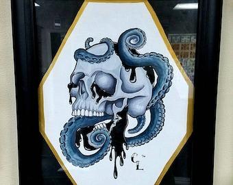Octopus & Skull Watercolor Painting
