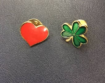 Hallmark Lapel Pin Set: Red Heart and Green Clover for Valentine's Day and St. Patrick's Day-Gold and Enamel