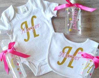 Personalized baby gift set - pink