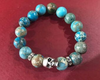 Turquoise beads with skull