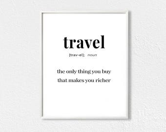 Travel definition print, travel quote print, definition poster, typography minimalist, printable difinition, travel wall art
