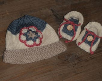 All birthstone / hand knitted hat and matching slippers