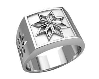 Alatyr Slavic Amulet Men's Ring Signet Sterling Solid Silver 925 SKU30230
