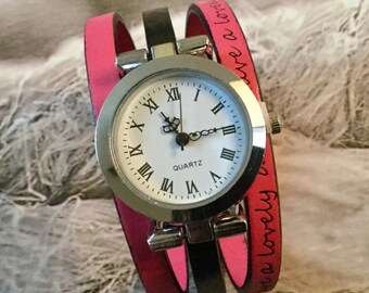 SIZE S ladies watch.  Wristwatch leather round silver black and pink Have a lovely day
