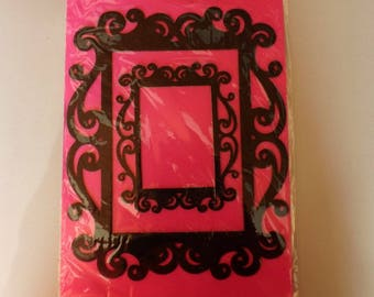 Set of two stickers black Baroque frames