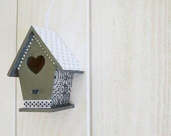 Gunmetal grey and white hanging decorative birdhouse