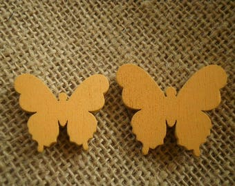 Set of 2 butterflies painted wood, orange yellow color, size 3 and 3.5 cm