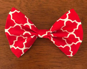 Red and White Girls Hair Bow