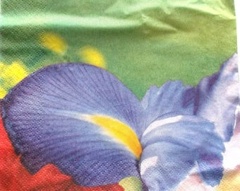 22  serviettes en papier FLEURS   IRIS  BLEU  ref. 3345
