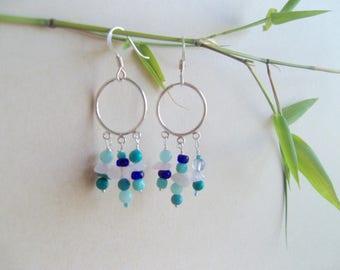 Earrings sterling silver and gemstones (semi-precious)