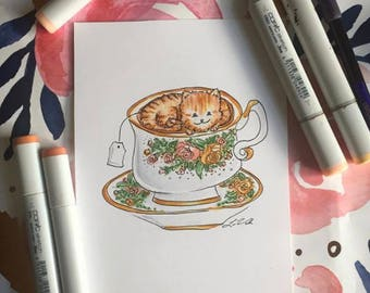 English Rose Cat Teacup Printable Art from Lisa Viss Designs