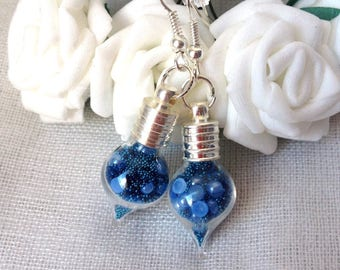 """PAIR OF EARRINGS """"MY TREASURES BLUE TURQUOISE AND MIDNIGHT BLUE"""" GLASS FILLING HALF TEAR DROP"""