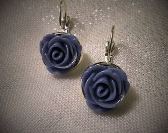 "Pair of earrings ""ROSE blue storm"" 3D flower CABOCHON"