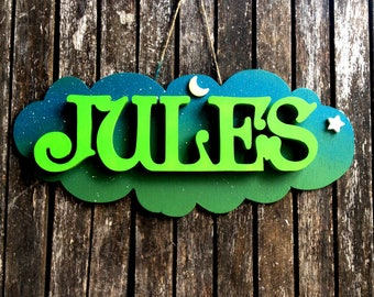 Cloud + name hand decorated wooden / wood letters