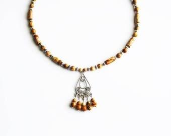 Candlestick and Jasper gemstones pendant necklace