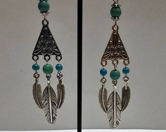 Turquoise beaded and feathered earrings