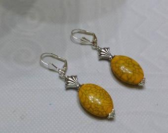 Yellow imitation turquoise Orange earrings