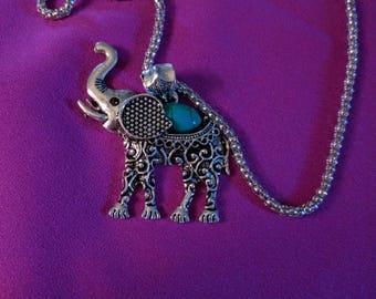 Tibetan silver turquoise elephant necklace