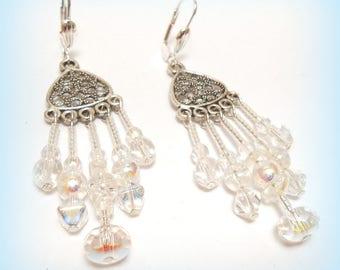 """""""Farandoles in white"""" crystal earrings"""