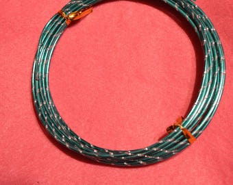 Striped green and gray 2 mm aluminum wire