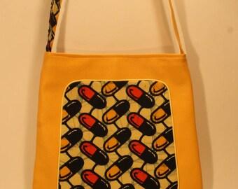Bag yellow African wax fabric