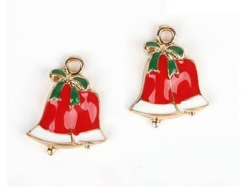 Set of 5 red Christmas clche charms