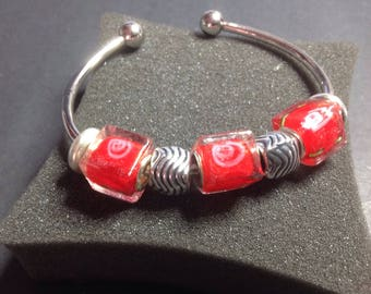 Bangle silver red Cubes