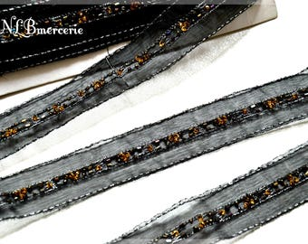 Stripe black, embroidered with bronze sequins and beads 25 mm