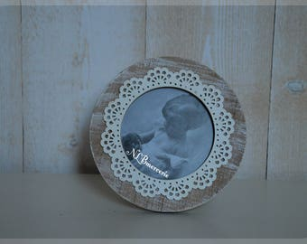 Round photo frame way aged wood gray 10 x 10 cm