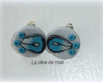 Stud Earrings round silvery blue handmade polymer clay