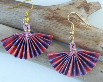 Japanese style purple and Red earrings