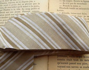 coupon 1 meter fabric beige stripes 4.2 cm