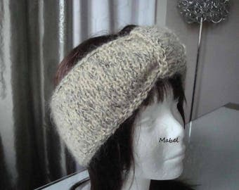 Beige headband, cowl, snood, Heather and lurex knit, French quality wool