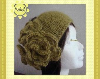 Pistachio green headband, knit and hand made crochet, flowers, lurex