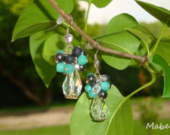 Dangle earrings, turquoise, black, Pearl Crystal, hematite and polaris, wedding
