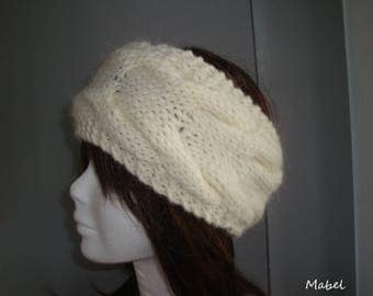 Alpaca hand knit cream cabled headband