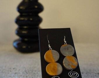 Brown and grey earrings