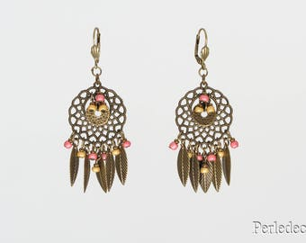 """Long leaf earrings bronze and pearls colored pink """"Summer"""""""