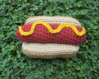 Crochet hotdog/sausage squeaky dog toy