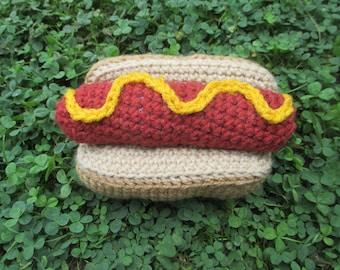 Crochet hotdog/sausage squeaky dog toy
