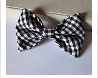 Bow tie and clip in hair 2 in 1 black and white gingham