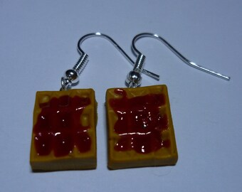 Waffle earrings in polymer clay