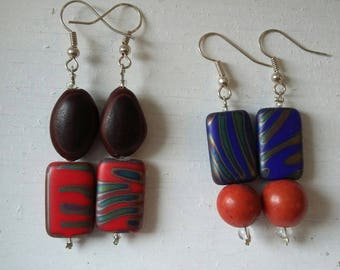 Rainbow earrings with seed lot