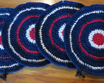 4 Crocheted Chair Pads