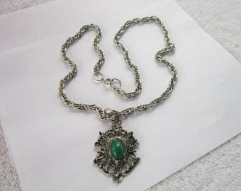 Retro Large Scottish Crest Pendant & Chain Necklace